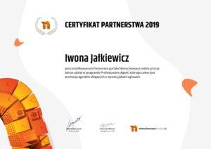 Certyfikat partnerstwa agenta nieruchomości