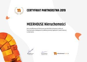 Certyfikat agencji nieruchomości MEERHOUSE Nieruchomości